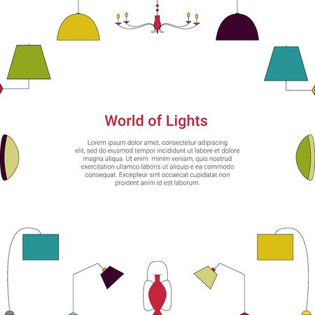 Wereld van Lichten kleurrijk concept. Lamp lijn pictogrammen op een witte achtergrond. Fixture type vector sjabloon. Stock Illustratie