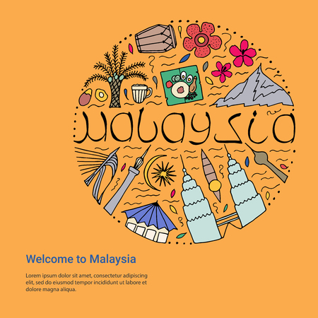 Welcome to Malaysia design concept. Hand drawn symbols of Malaysia template.