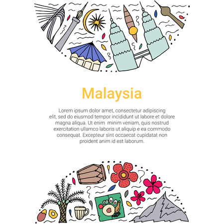 Culture of Malaysia template. Hand drawn design concept.