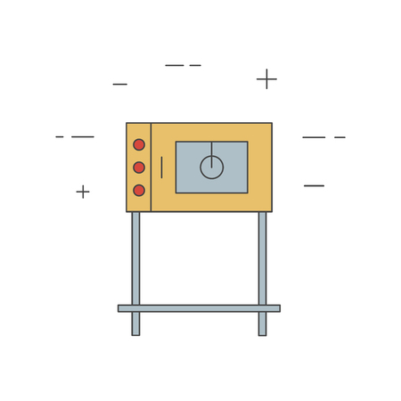 combi: Commercial oven line icon isolated on a white background. Combi, pizza, bread oven for restaurant, bakery. Kitchen equipment. Illustration