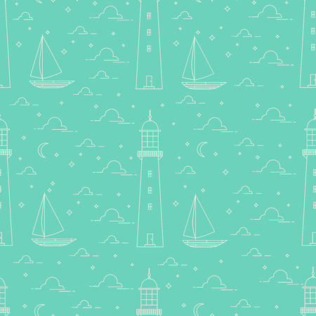 Flat line landscape seamless pattern including lighthouse, sea, sailboat, moonlight night. Green color.