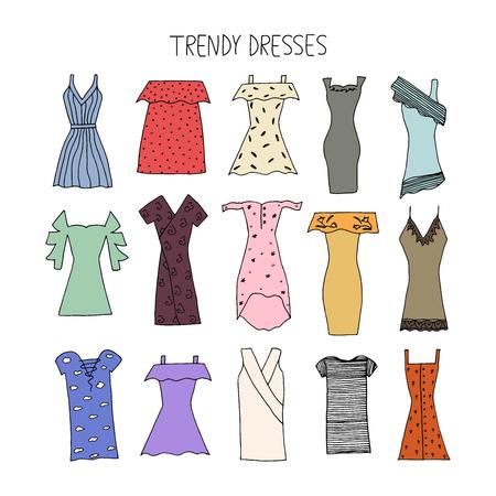 Hand drawn trendy dresses design concept. Fashion dresses with strip, bandage, polka dot, cold shoulder, embroidery, lace. Summer 2017. Vector illustration.