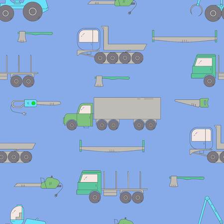 Forest industry seamless pattern. Woodworking vector print. Forest harvester, truck dumper, truck, trailer and tools. Wood transportation equipment. Flat line.