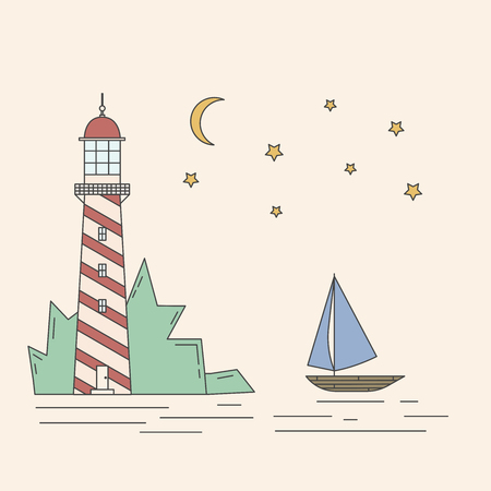 Flat line landscape illustration including lighthouse, sea, sailboat, moonlight night.