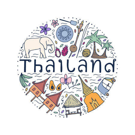 Symbols of Thailand. Hand drawn design concept with the main attractions of Thailand. Vector illustration.