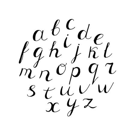 Hand getrokken alfabet. Wit en zwart. Vector hand belettering. Vector Illustratie