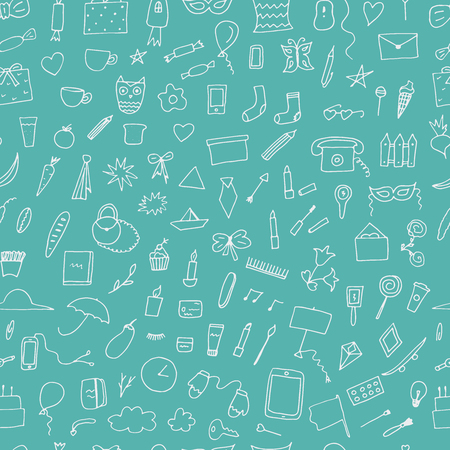 Doodle home related trendy seamless pattern. Hand drawn vector elements.