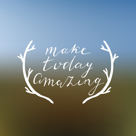 Make today amazing hand drawn poster. Hand lettering with gradient mesh background. Vector illustartion. Illustration