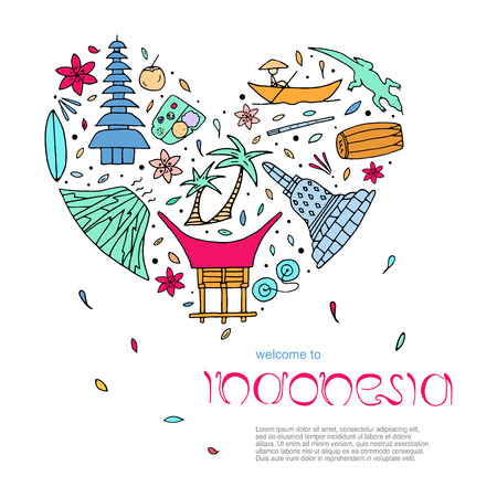 Culture of Indonesia design concept in the form of heart with text. Main attractions. Vector illustration.