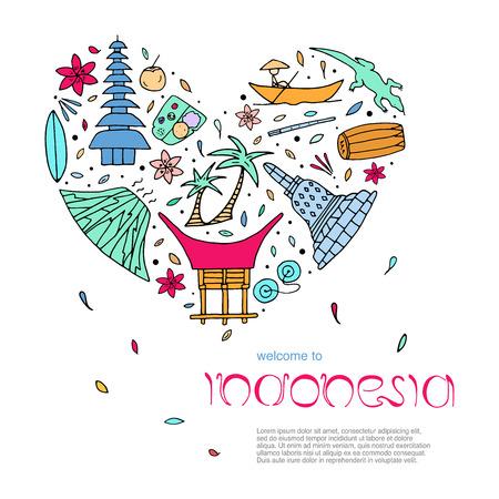 Culture de l'Indonésie concept de design en forme de coeur avec du texte. Attractions principales. Illustration vectorielle.