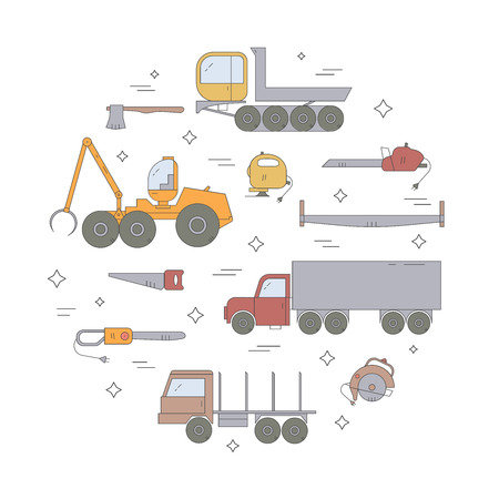logging: Forest industry icon set. Logging equipment. Vector illustration. Illustration