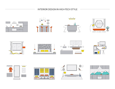 Interior design in high tech style. Home design vector collection. Modern minimalist house designs. Kitchen, living room, bedroom, bathroom, workspace, hallway, wardrobe. 矢量图像