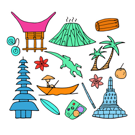 Main attractions of Indonesia. Hand drawn color icons. Isolated vector illustration.