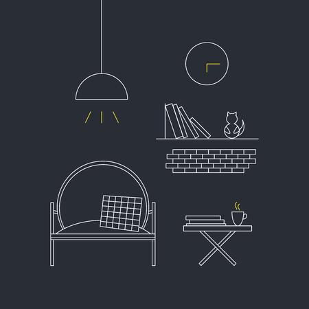 Concetto di interior design per la casa. Illustrazione vettoriale di linea.