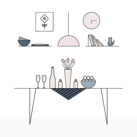 living room interior: Interior Design in Scandinavian style. Simple and modern. Minimalism in House Design. Dining room. Illustration