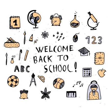 First day of school doodle illustration.