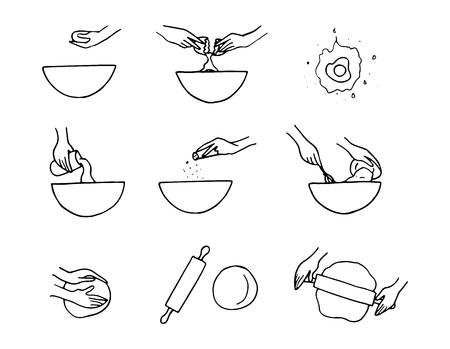 Cooking preparation illustration.