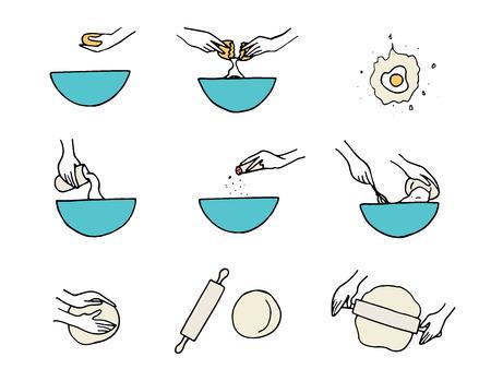 Cooking hands illustration.