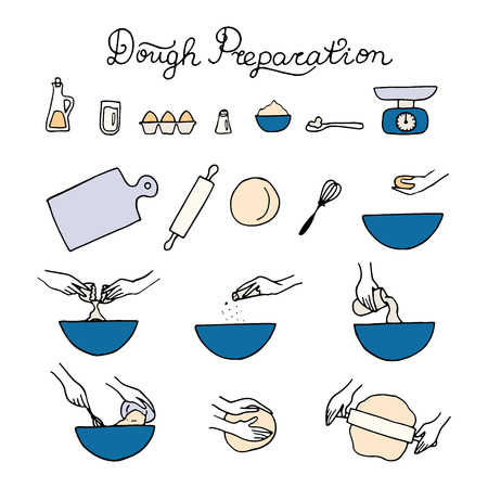 Dough preparation icons. Doodle vector illustration.