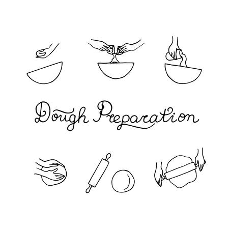 Teigvorbereitungskonzept. Gekritzel-Vektor-Illustration. Hände kochen.