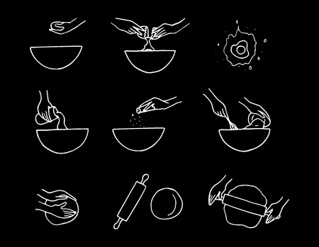 Hand drawn dough preparation process. Doodle vector illustration.