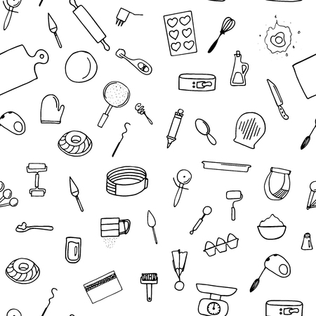 Dough preparation seamless pattern. Doodle cooking tools.