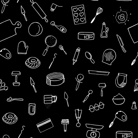 Dough preparation seamless pattern. Doodle cooking tools on a black background.