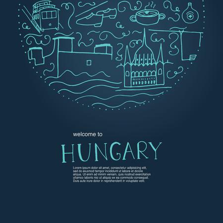 헝가리에 오신 것을 환영합니다. 헝가리의 손으로 그려진 된 요소입니다. 어두운 파란색 배경에 벡터 일러스트 레이 션. 일러스트