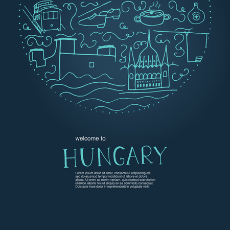 Welcome to Hungary. Hand drawn elements of Hungary. Vector illustration on a dark blue background.