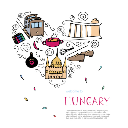 Culture of Hungary concept. Doodle elements of Hungary. Vector heart illustration.