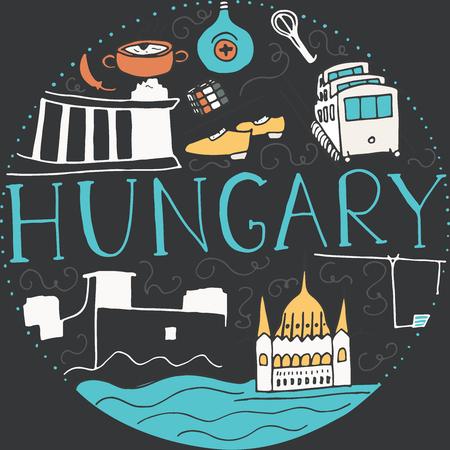 Doodle symboles de la Hongrie. Vecteur rond illustration.