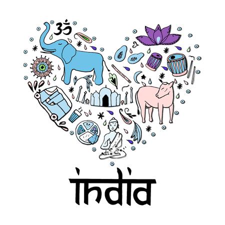 rikscha: Indien in Form von Herzen. Handzeichnungselemente von Indien auf einem weißen Hintergrund. Illustration