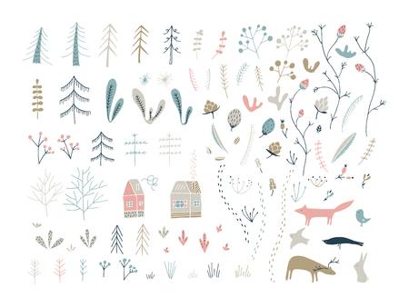 Forest doodle elements. Hand drawn cute illustrations. Floral, woodland, animals. Illusztráció