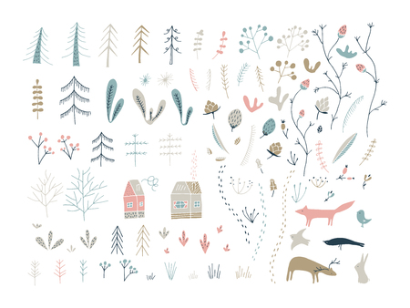 Forest doodle elements. Hand drawn cute illustrations. Floral, woodland, animals. Illustration