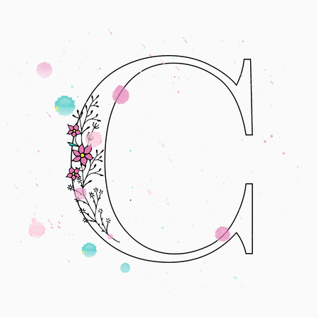 C letter. Hand drawn floral alphabet with watercolor drops. Vector wedding symbol.