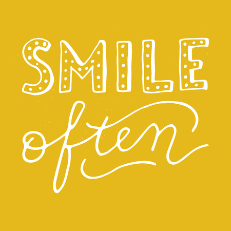 Smile often lettering quote vector illustration  イラスト・ベクター素材