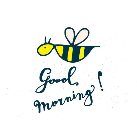 Good morning lettering with bee. Hand drawn funny card. 矢量图像
