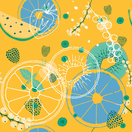Fresh seamless pattern with fruits and berries. Hand drawn sweet print.