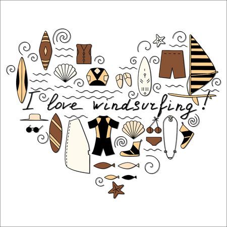 I love windsurfing illustration. Active sport design concept. Çizim