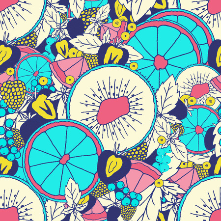 Fresh fruits and berries pattern