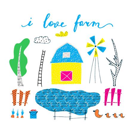 Hand drawn card about farm. Life on the farm. Vector illustration.