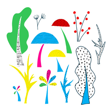 Forest clipart elements. Cutout graphic illustration.