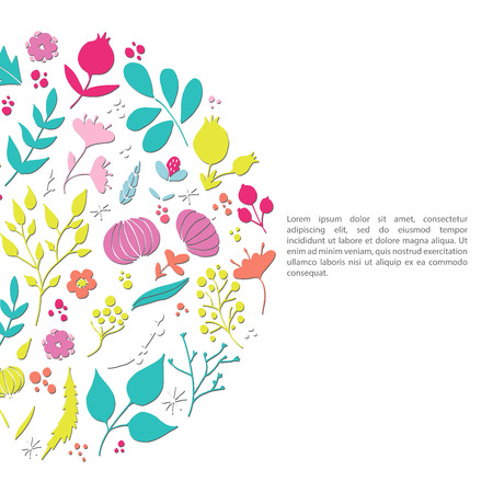 Hand drawn floral elements. Romantic surface design. Vector pattern with flowers.