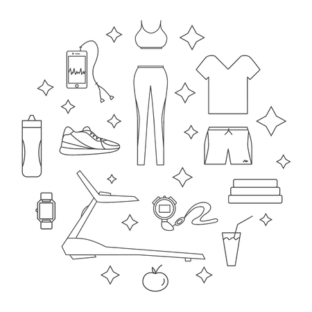 Running line isolated icons. Healthy lifestyle design concept. Accessories for running. 免版税图像 - 98661305