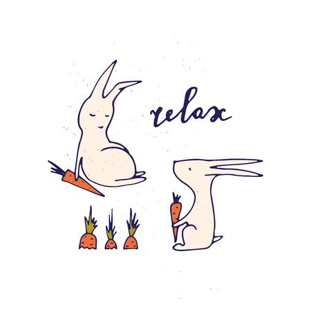 Relax illustration. Hand drawn lettering with rabbits. Vector funny card.