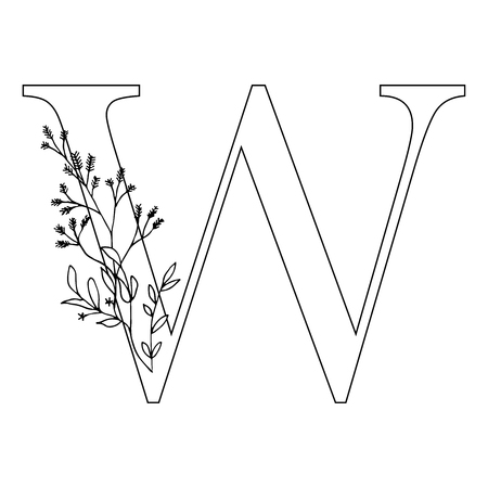 Floral letter W. Romantic lettering design with flowers. Isolated vector mono line symbol.