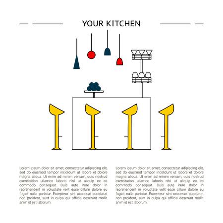 Interior design concept. Vector line kitchen illustration. 矢量图像