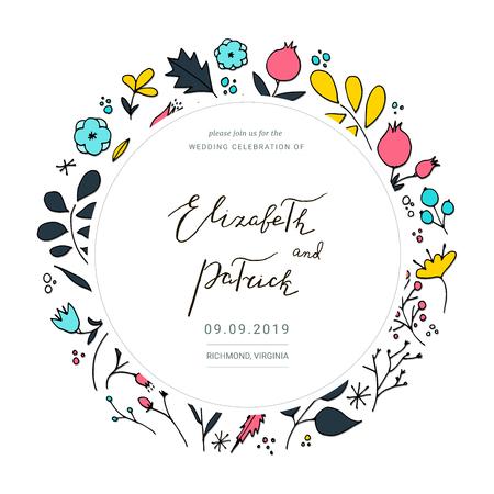 Floral wedding card. Vector wedding invitation.