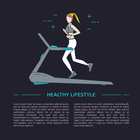 Running line design concept with woman vector illustration