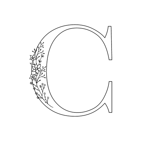 Floral letter C. Romantic lettering design with flowers. Isolated vector mono line symbol.